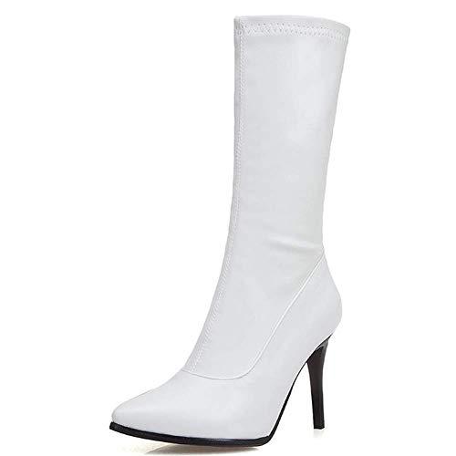 Botines Para Mujer Sexy Aguja Altos Zapatos Cremallera Punta Estrecha Antideslizante Invierno Cálido Zapatos,Blanco,41