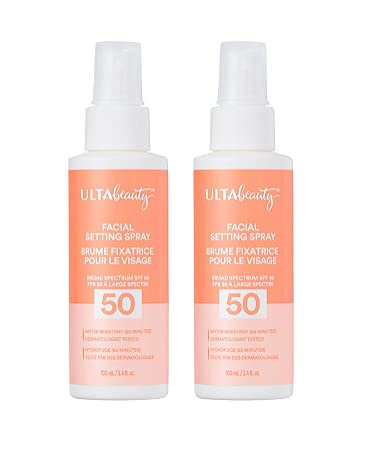 Ulta Beauty Facial Setting Spray Sunscreen SPF 50 Size 3.4 oz (pack of 2)