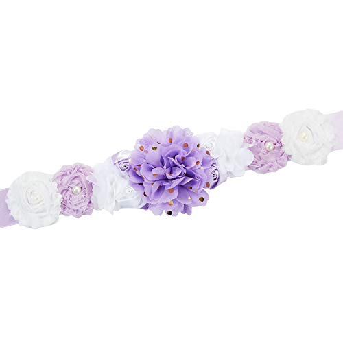 Pregnant Sash Maternity Sash Belt Girls Belt with Flowers for Baby Shower Dress Bridal Wedding Birthday Party Princess Dress Decorations - (Gold Dot Lavender and White)