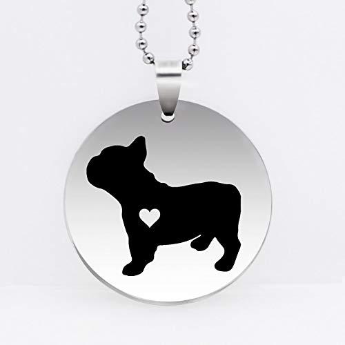 VAWAA Collar Colgante de Perrito de Acero Inoxidable Collar de Bulldog francés...