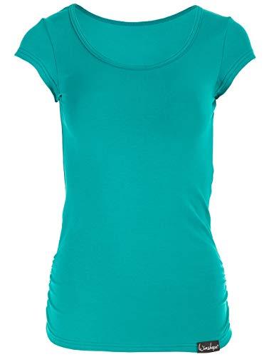 WINSHAPE Damen Fitness Freizeit Yoga Pilates Kurzarmshirt, ocean-green, XS
