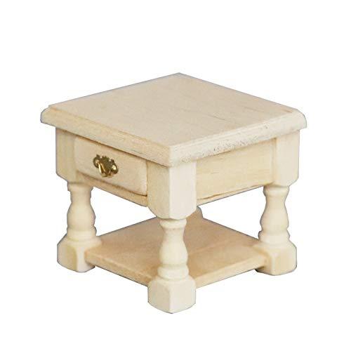 Whiie891203 Mini Möbel Modell, 1:12 Mini Möbel Modell DIY Plain Nachttisch Beistelltisch Mit Schublade EIN Schrank Holz