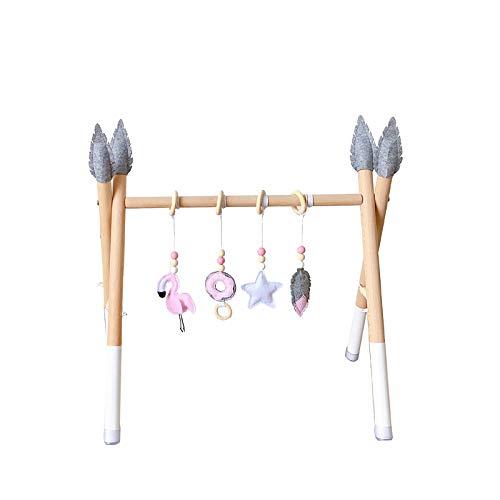 Gimnasio de madera para bebés con 4 juguetes sensoriales para bebés Play de madera plegable Juego de madera del gimnasio Actividad de la actividad del gimnasio del gimnasio del gimnasio del gimnasio d