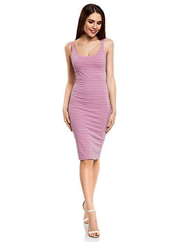 oodji Ultra Damen Baumwoll-Kleid mit Dünnen Trägern, Violett, DE 34 / EU 36 / XS