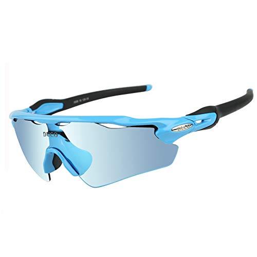 Duco polarizado Deportes Mens Gafas de Sol para esquí de conducción Golf Running Ciclismo Tr90 Superlight Marco con 5 Lentes Intercambiables 0028 (Azul)