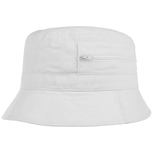 Lipodo Fischerhut Damen/Herren - Aus Baumwolle - Anglerhut mit eingenähter Tasche (Reißverschluss) - Sommerhut als Sonnenschutz - Farben blau, Oliv, weiß weiß 61 cm