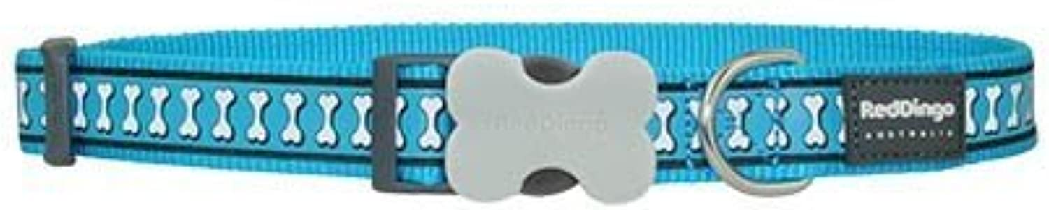 Red Dingo Reflective Turquoise Dog Collar, Medium Large 20mm by Red Dingo