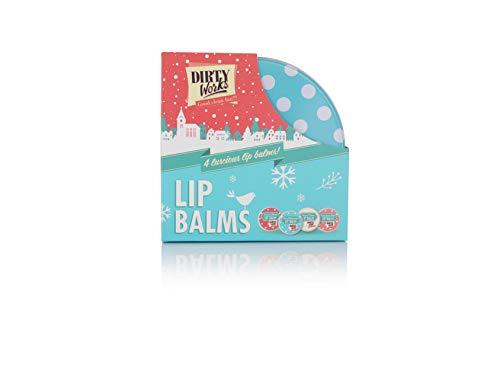 Dirty Works Lip Balm Festive Gift Set. Includes 4 Lucious Lip Balms
