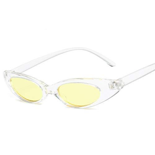 MOJINGYAN Zonnebrillen, Vrouwen Kat Oog Zonnebril Zonnebrillen Retro Kleine Dames Zonnebrillen Oogschaduw Geel Wit