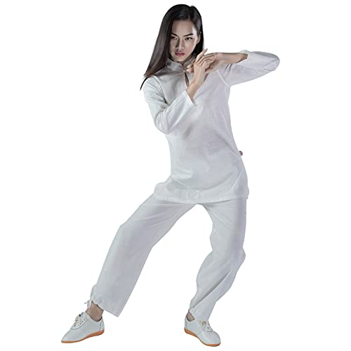 SSTH Abbigliamento Tai Chi - Uniforme Tai Chi Donna Abbigliamento Kung Fu Cotone Lino Wing Chun Uniforme Tuta Yoga Meditazione Zen Arti Marziali White-M