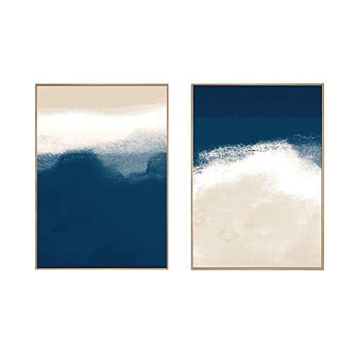 Impresión en lienzo Arte de pared azul nórdico moderno Carteles abstractos e impresiones Pintura sobre lienzo Cuadros de pared Sala de estar Decoración para el hogar 50x70cm/19.6 'x27.5' x2 Sin marco