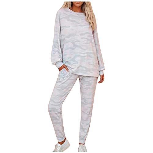 Damen Freizeitanzug Camouflage Anzug Langarmshirt Leisure Hose mit Tasche Home Jogginghose Sets Schlafanzug, Rosa, M