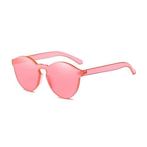 Brillen Damen AMUSTER Frauen Mode Brillen Katzenaugen Sonnenbrille Integrierte UV Mehrfarbig Sonnenbrille Unisex Aviator Sonnenbrille Round Metal Sonnenbrille (Free Size, Wassermelonenrot)