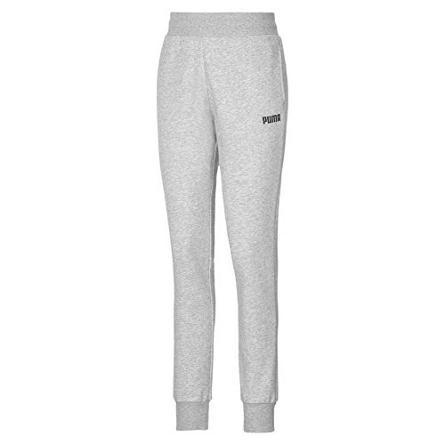 PUMA Essentials Damen Fleece Sweatpants mit Bündchen Light Gray Heather S