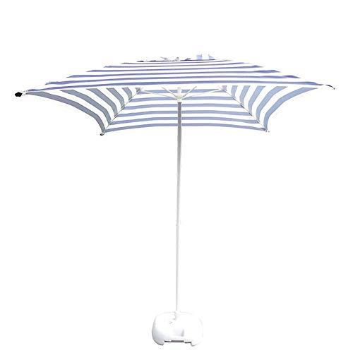Sonnenschirm-Regenschirm 6.6ft Streifen Terrasse Regenschirm, UV 50+ Schutzstrand Regenschirm mit 4 robusten Rippen, für Wohn- und Handelsstandorte (Color : with Base)