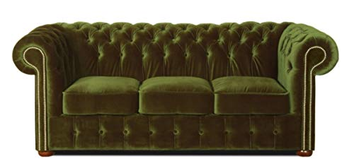Casa Padrino Chesterfield 3er Sofa Dunkelgrün 200 x 90 x H. 78 cm - Luxus Qualität