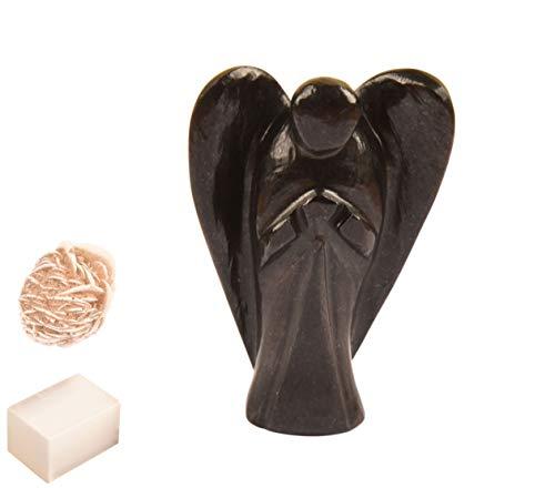 Natürlicher schwarzer Onyx Stein Reiki geschnitzt spirituelle Edelstein Wächter Tasche Engel Statue Ornament Dekoration