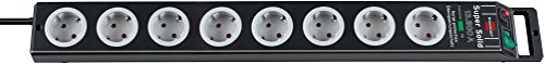 Brennenstuhl Super-Solid, stekkerdoos 8-voudig met overspanningsbeveiliging (2,5 m kabel en schakelaar - van onbreekbaar polycarbonaat) kleur: zwart/grijs