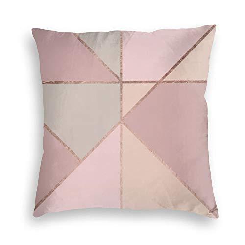 Fundas de cojín de terciopelo coral suave, diseño geométrico, color rosa y dorado rosa, para sofá, dormitorio, coche, con cremallera invisible, 45,7 x 45,7 cm