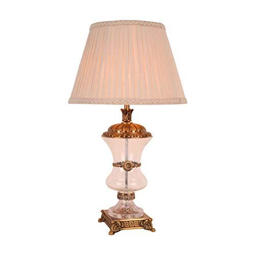 Hkw-shop tafellamp Classica tafellamp met hoog kristal, 70 cm, lampenkap beige voor slaapkamer, woonkamer