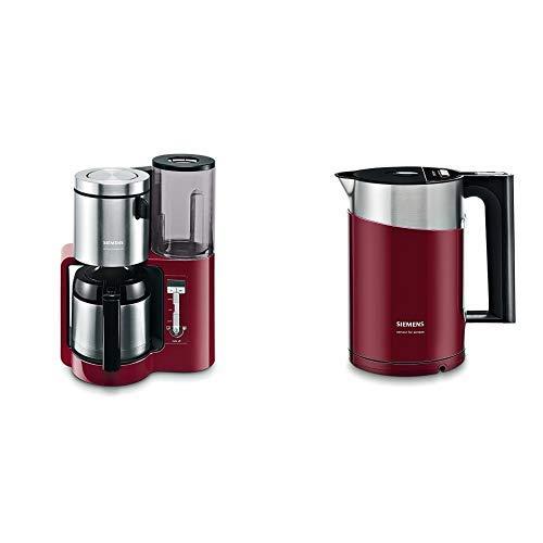 Siemens TC86504 Kaffeemaschine (1100 Watt, 8-12 Tassen, Edelstahl Thermokane) cranberry red & TW86104P Wasserkocher sensor for senses mit Edelstahlapplikation cranberry rot/schwarz