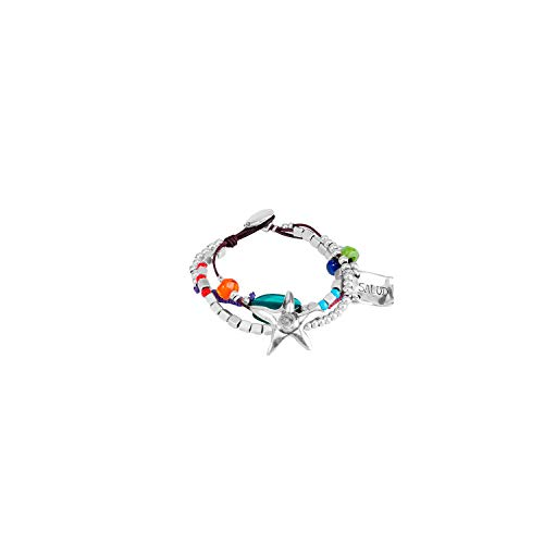 Uno De 50 PUL0892MTLMCL0M Bracelet Femme Plaqué Argent Cuir Perle Multicolore 16 cm
