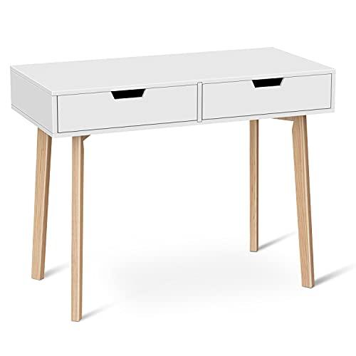 Naspaluro Escritorio de ordenador, escritorio de oficina, mesa de estudio con cajones, mesa de escritorio de madera para dormitorio, tocador para el hogar, oficina, 100 x 50 x 76 cm, blanco
