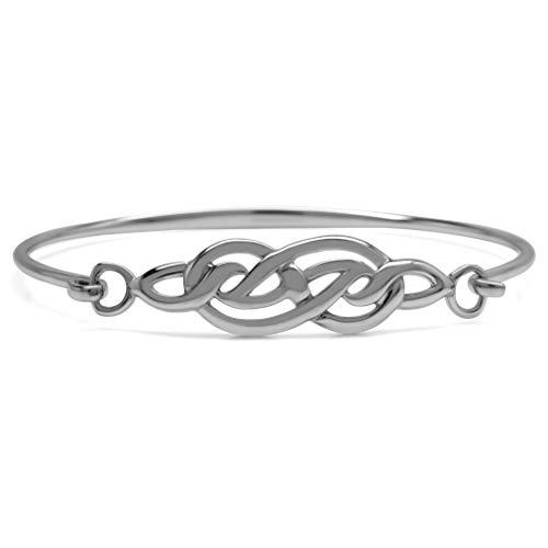 Silvershake 925 Sterling Silver Celtic Knot Bangle Bracelet 7 Inch