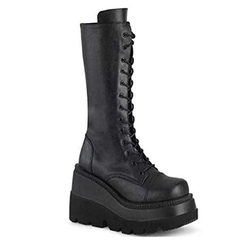Botas De Plataforma Góticas Para Mujer, Botas De Caballero Para Motocicleta, Botas Altas De Cuero De Cabeza Redonda, Moda Informal, De Gran Tamaño Para Fiesta Baile Club Zapatos Ecuestres,Black-39