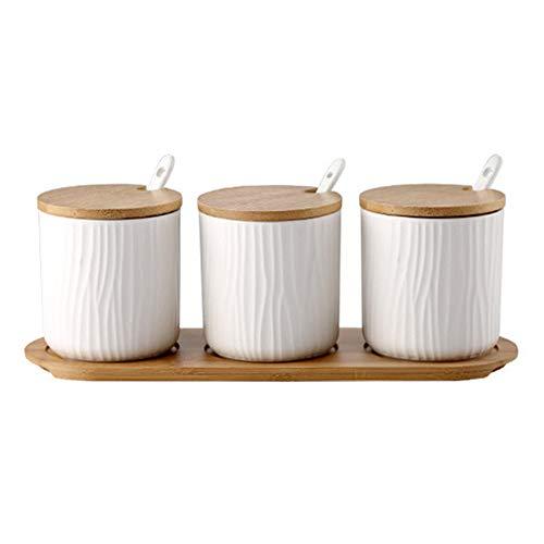 OnePine Set di 3 Zuccheriera, Zuccheriera in Ceramica Rotonda con Coperchio e Cucchiaio, Design Elegante, per Casa e Cucina