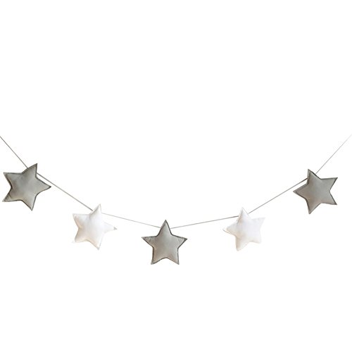 Homeofying Nordic 5Pcs Cute Stars Hanging Ornaments Banner Bunting Party Kid Bed Room Decor Grey + White