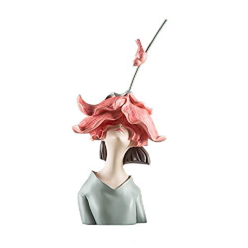 ZLBYB Moderna Resina Flor Chica Busto Escultura Sala de Estar Dormitorio Dormitorio...