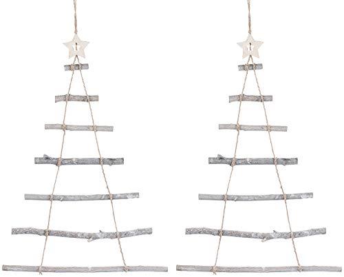 Britesta 2 Deko-Holzleitern in Weihnachtsbaum-Form zum Aufhängen, 48 x 78 cm