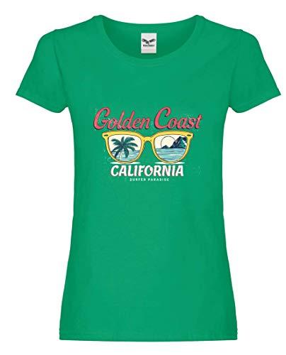 Camiseta – Golden Coast California Gafas de sol – Camiseta para mujer y mujer Kelly Green L