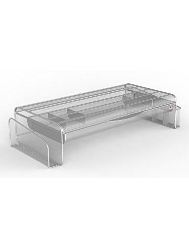 Alba Meshup M Support écran avec tiroir/espace de rangement clavier Gris métal