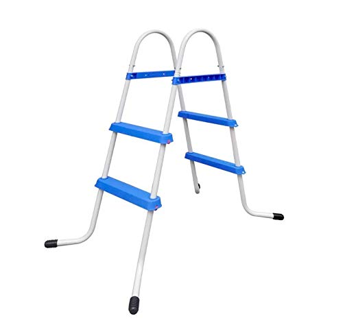 Pool Ladder, Above Ground Steel Frame Swimming Pool Ladder Non-Slip Steps for 34in Wall Height Pools (Blue)