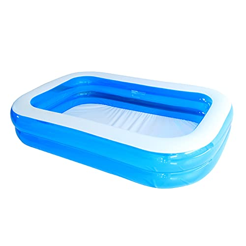 WOSNN Family Pool Pool rechteckig für Kinder Aufblasbarer Familienpool Planschbecken für Kinder geeignet für Erwachsene einfacher Pool im Hinterhof Sommerwasserparty blau (128 * 85 * 45)