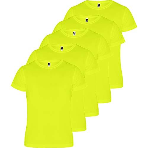 ROLY Camiseta Hombre (Pack 5) Deporte | Camiseta Técnica para Fitness o Running | Transpirable (Amarillo FLÚOR, L)