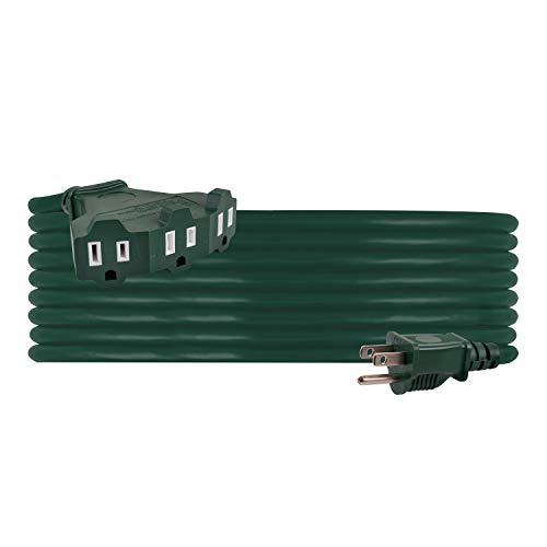 PHILIPS, Green, 25 Ft Outdoor Extension Cord, 3 Outlet Block, Use in Garage, Shed, Office or Home, SPS1037GF/27