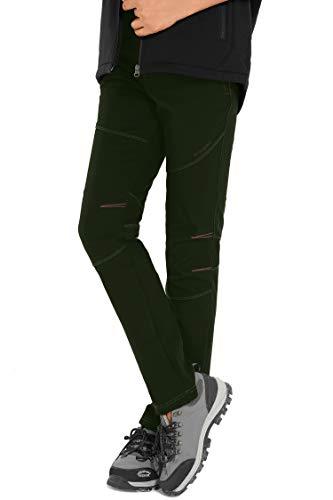 HAINES Outdoorhose Damen Wanderhose Wasserdicht Softshellhose Gefüttert Hose Winter Trekkinghose Funktionshose, Nue-Stil:Armeegrün, Gr. EU-L