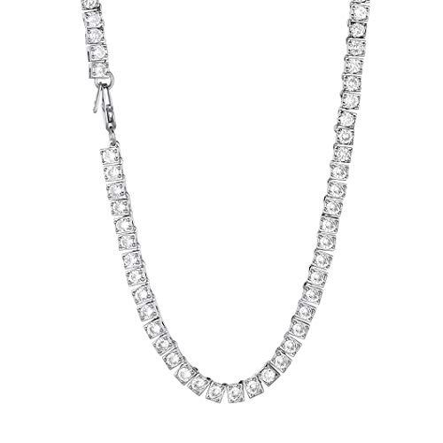 Richsteel Ice Out Bling Schmuck 4mm Breit 55cm lang Platin Halskette mit 116 Zirkonia Bling Schmuck ideales Schmuck als Geburtstag