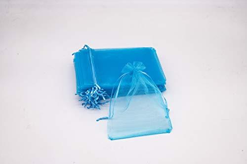 Bolsas de Organza Regalo Blanco (15x20cm) Bolsitas para Caramelos Recuerdos Invitados de Boda Fiesta Cumpleaños Navidad Halloween Color Azul