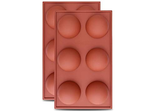 Hot Chocolate Bomb Mold Silicone Semi Sphere 2.5 Inches   2 Pack 6-Cavity Baking Mold   Baking Mold for Making Chocolate Bombs, Jelly, Dome Mousse, Pudding, Handmade Soap   Round Shape Half Sphere