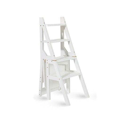 Escalera Multifuncional de Madera Maciza Silla Cocina de hogar Escaleras Plegables de Doble Uso Silla movible Escalera Ascendente de 4 Pasos (Color : Blanco) ⭐