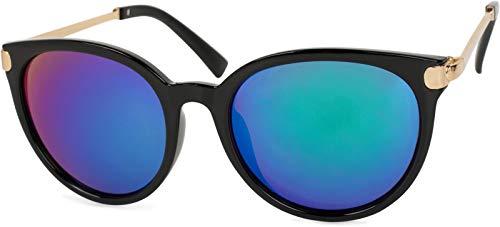 styleBREAKER occhiali da sole con lenti cat eye occhi di gatto e ponte in metallo, lente forma tonda, da donna 09020073, colore:Montatura Nero-Oro/Vetro Blu-Verde munito di specchi