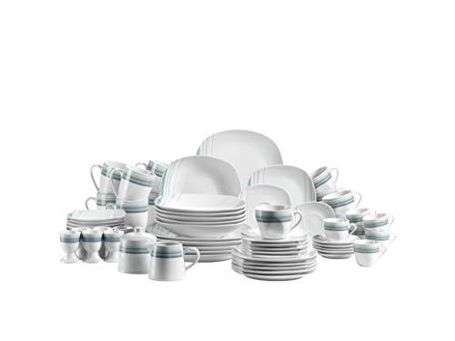 Mäser 931214 Serie Enni, Kombiservice 62 teilig, weißes Porzellan Geschirr-Set mit blauem Muster, Teller, Kaffeetasse, Kaffeebecher, Schüssel für 6 Personen, Weiß / Blau