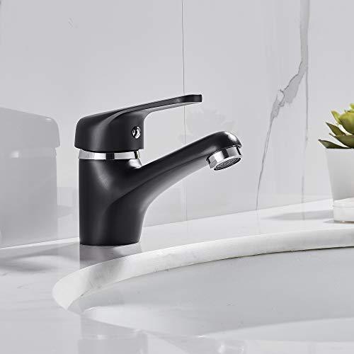 Auralum Schwarz Wasserhahn Bad Messing Waschtisch-Einhebelarmatur mit Niedrige Auslaufhöhe, Waschbecken-Armatur Badarmatur Waschtischarmatur Kaltes- heißes Wasser Mischbatterie fürs Bad