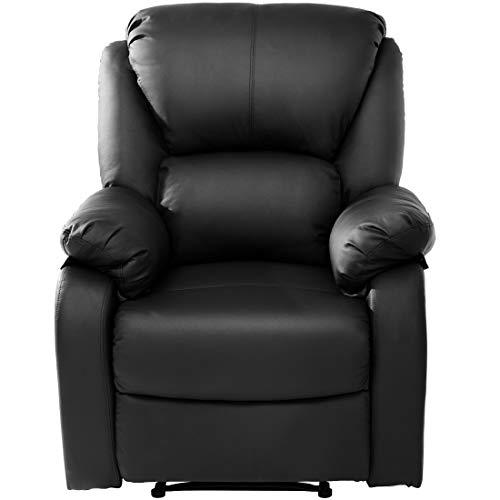 Liegesessel PU-Leder Wohnzimmer Sessel Relaxsessel mit Liegefunktion Fernsehsessel Kinosessel Lesesessel in Schwarz für Home Lounge Gaming Cinema