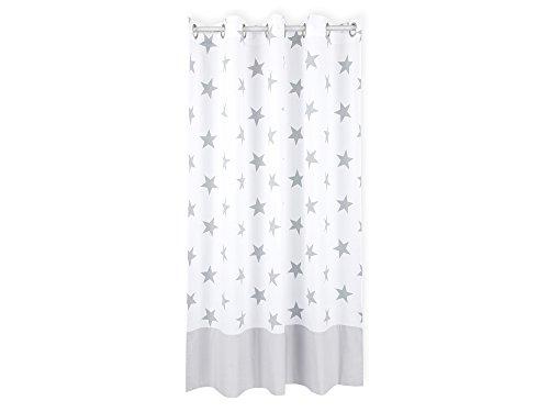 KraftKids Gardine große graue Sterne auf Weiss Unigrau aus 100% Baumwolle, stilvolle Vorhänge mit Ösen, Gardinen 230 cm lang für das Kinderzimmer