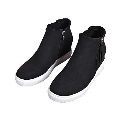 Zapatillas de deporte de cuña ocultas para mujer, botines de cuña con cremallera lateral de cabeza redonda a la moda, aumento de la zapatilla de deporte de plataforma media al aire libre,Negro,38
